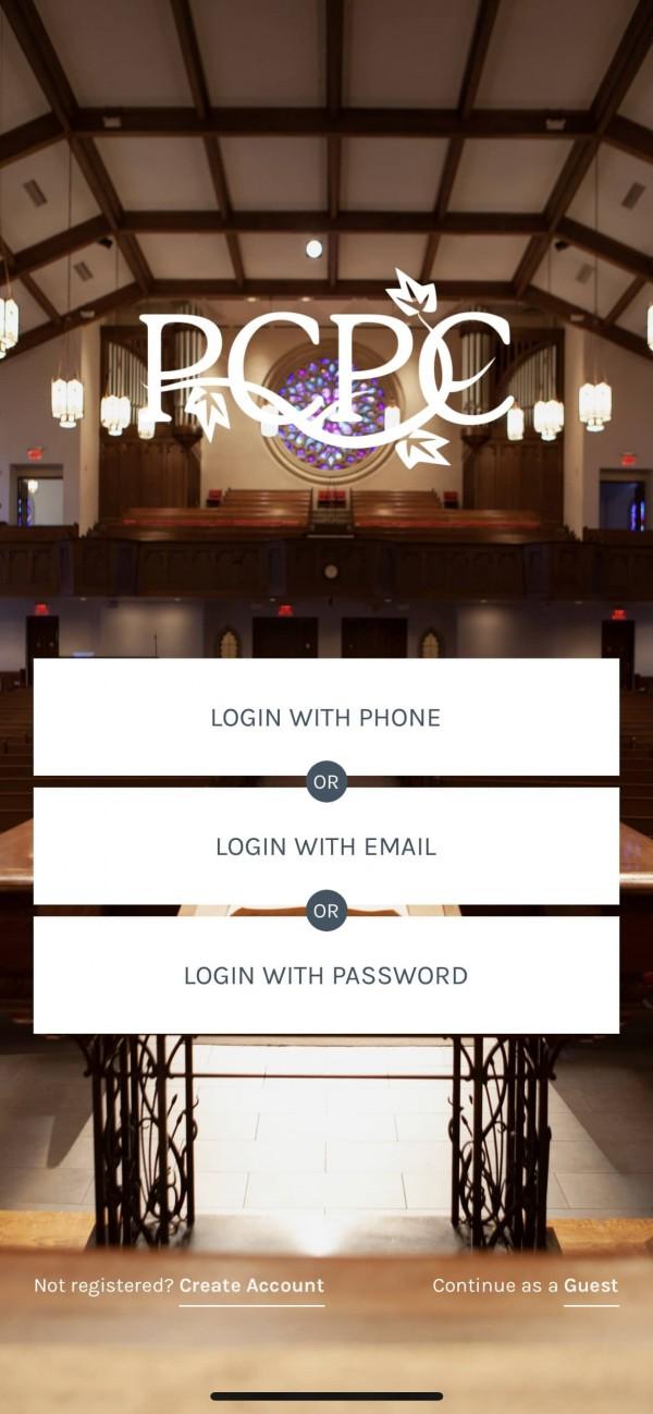 New PCPC App Login Screen